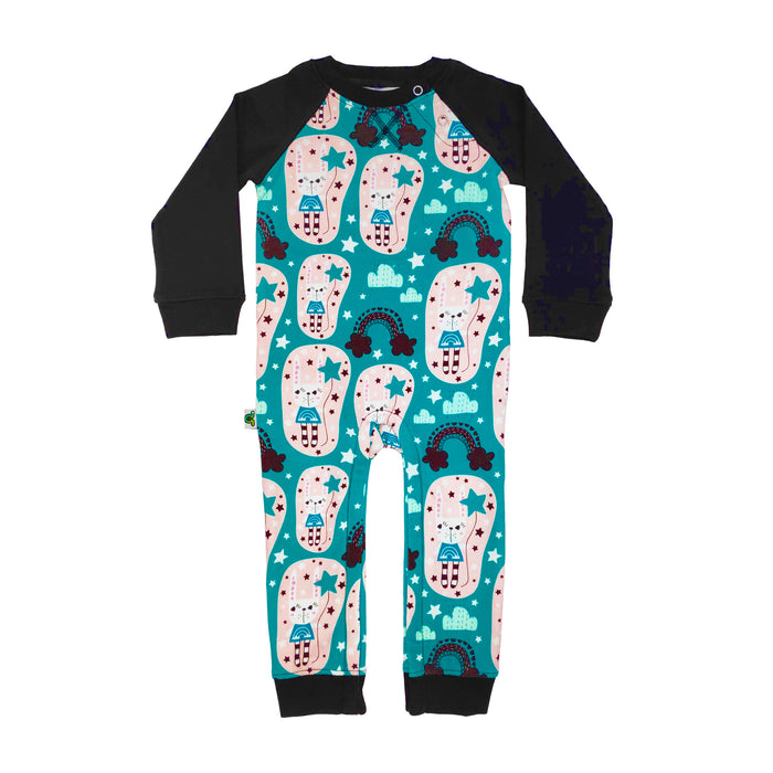 Full sleeve raglan romper with illustrated print of cute bunnies holding star balloons and rainbows