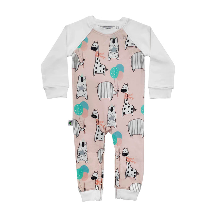 Full sleeve raglan romper with all-over print of cute, illustrated giraffes, bears and elephants in party hats, holding balloons