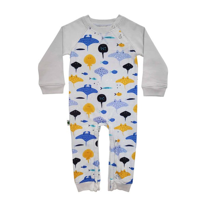 Full sleeve raglan romper with all-over print of hand drawn, illustrated stingrays