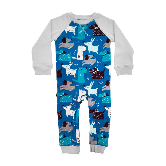 Full sleeve raglan romper with cartoon print of cute dogs in masculine colors
