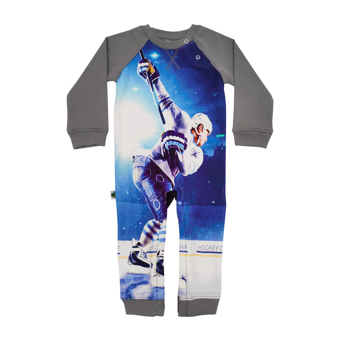 Full sleeve raglan romper of ice hockey player in mid-swing, about to strike a slapshot
