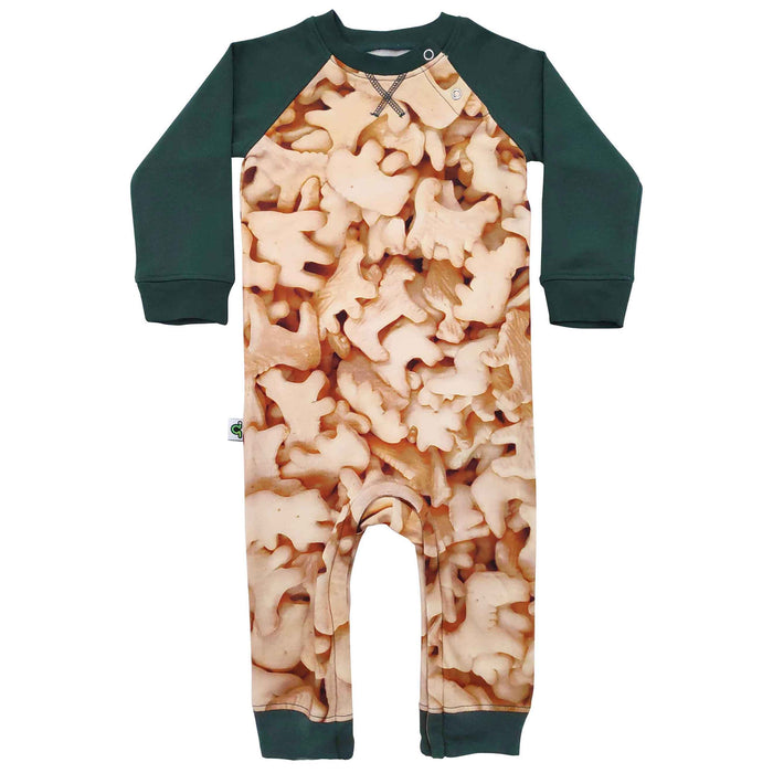Raglan romper with all-over print of animal crackers
