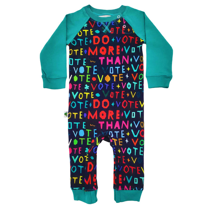 "Raglan romper with text printed across body saying ""Do More Than Vote"""