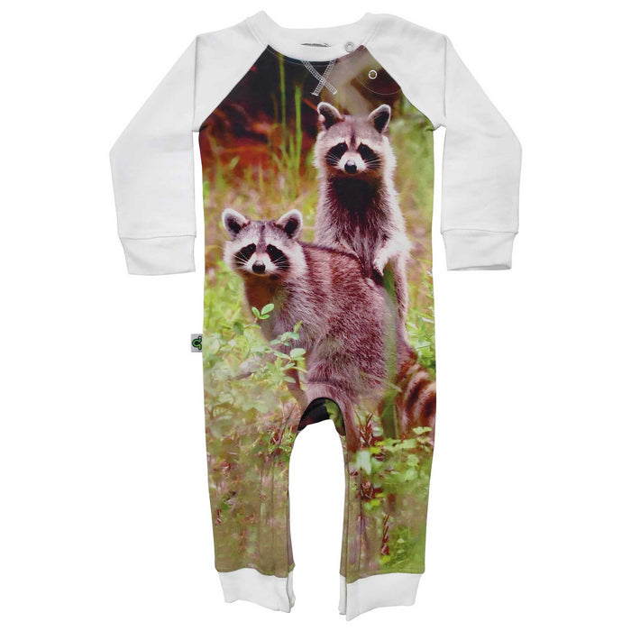 Raglan romper with image of two raccoons