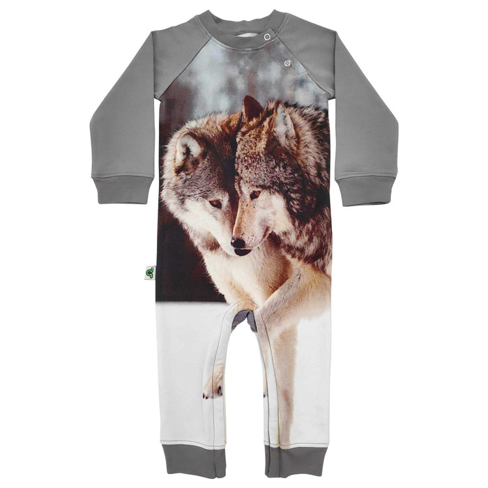 Long sleeve raglan romper with an image of two wolves