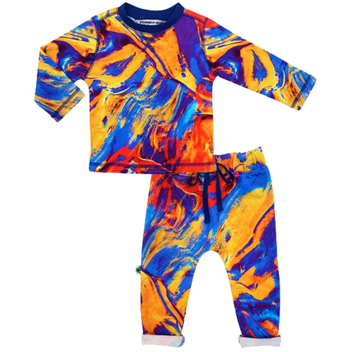 Crew top and jogger bottom set printed with paintbrush strokes in rich primary colours