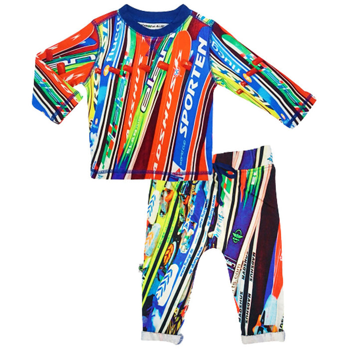 Crew top and jogger bottom set printed with an image of multicolour skis resting on a ski rack