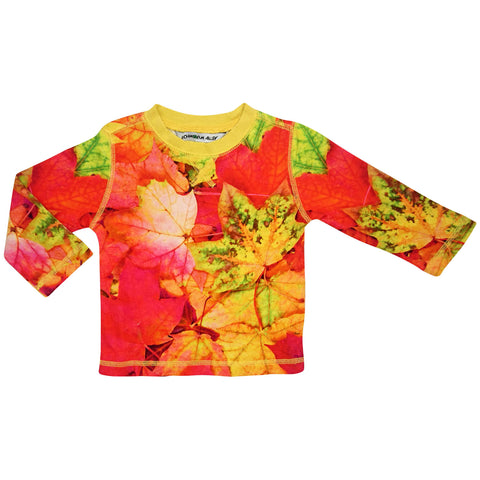 Crew top and jogger bottom set printed with an image of multicolour maple leaves in red, orange and yellow