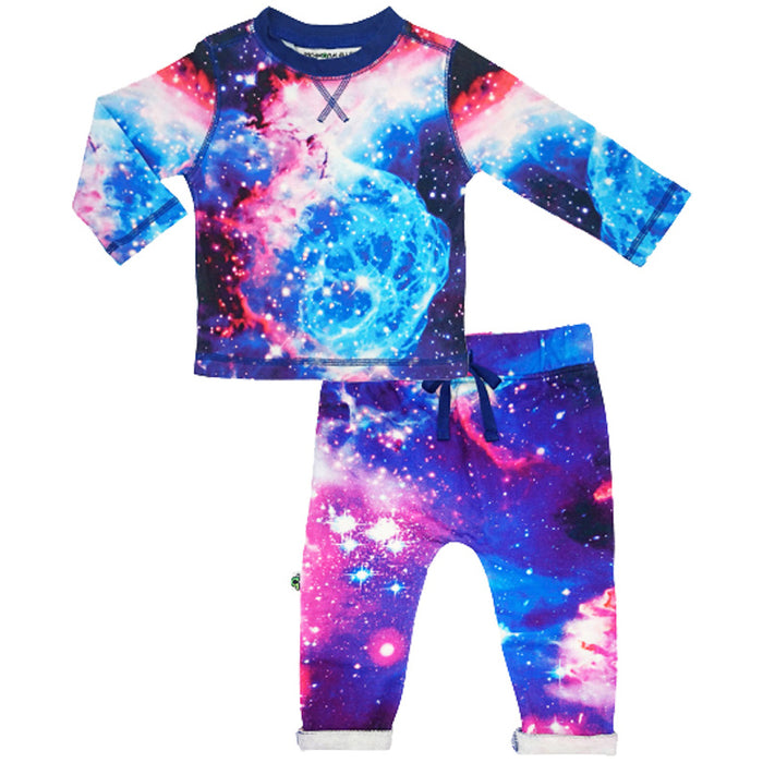 Crew top and jogger bottom set printed with an image of star galaxies in space in blue, pink, white and navy