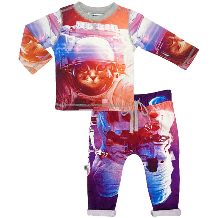 Crew top and jogger bottom set printed with an image of a cat astronaut floating in space