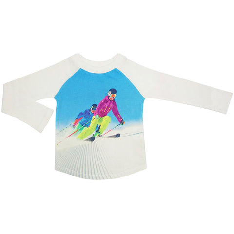 Raglan top and jogger bottom set printed with an image of two downhill skiers coming down a groomed hill