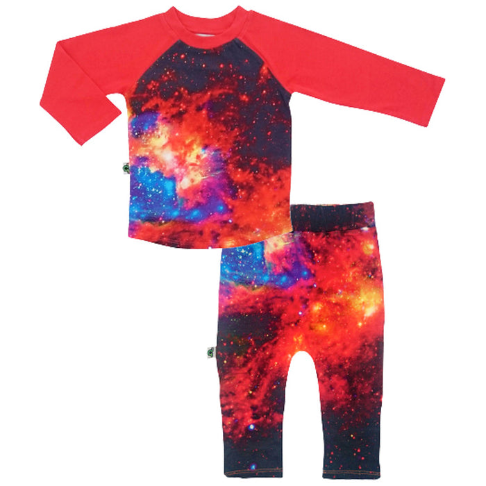 Raglan top and jogger bottom set printed with an image of a red, yellow and blue galaxy against the backdrop of a black starry sky