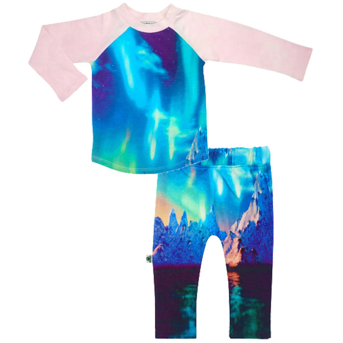 Raglan top and jogger bottom set printed with an etheral image of the Polar Lights, aka Aurora Borealis or Northern Lights