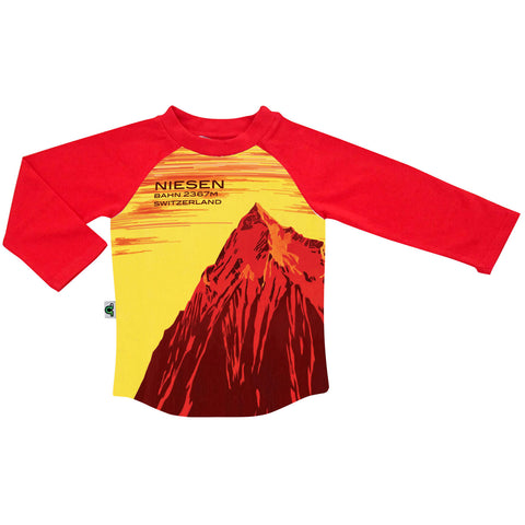 Raglan top and jogger bottom set printed with a vintage travel and tourism poster of a red mountain promoting Niesen, Switzerland