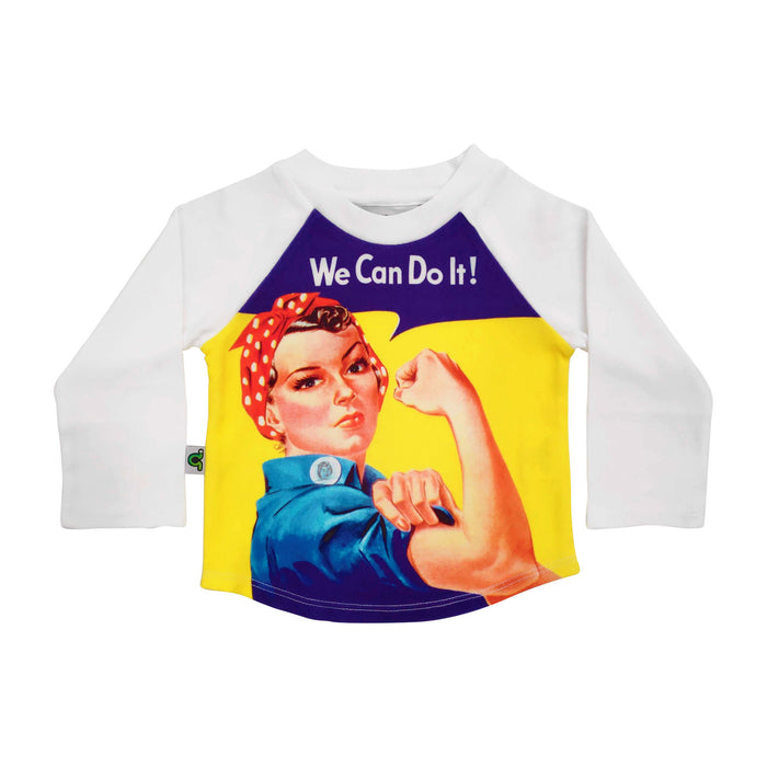 "Full sleeve raglan tee with feminist print of Rosie the Riveter exclaiming ""We Can Do It!"""