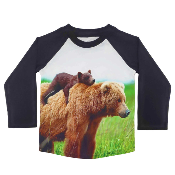 Raglan tee with image of a baby brown bear cub on top of a mama bear
