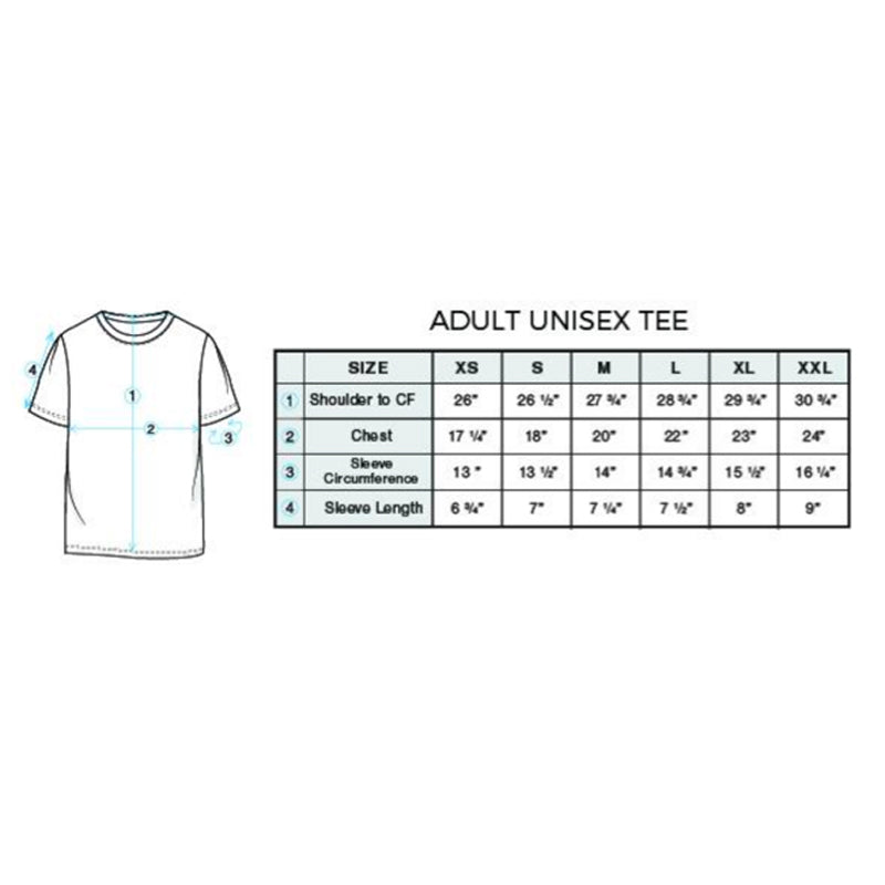 Size chart for adult unisex tee style