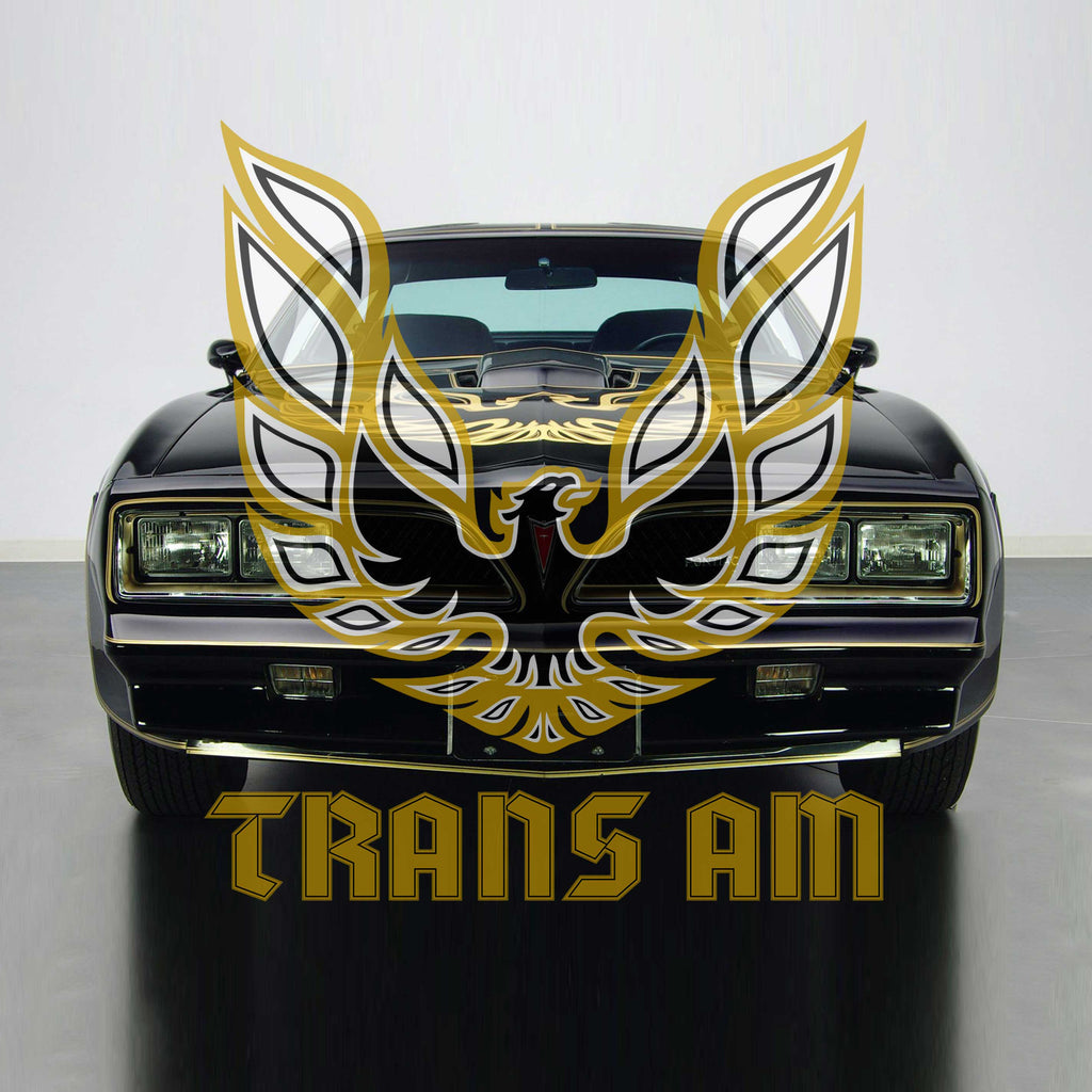 Image of a classic Trans Am and the Firebird emblem and words TRANS AM superimposed on top