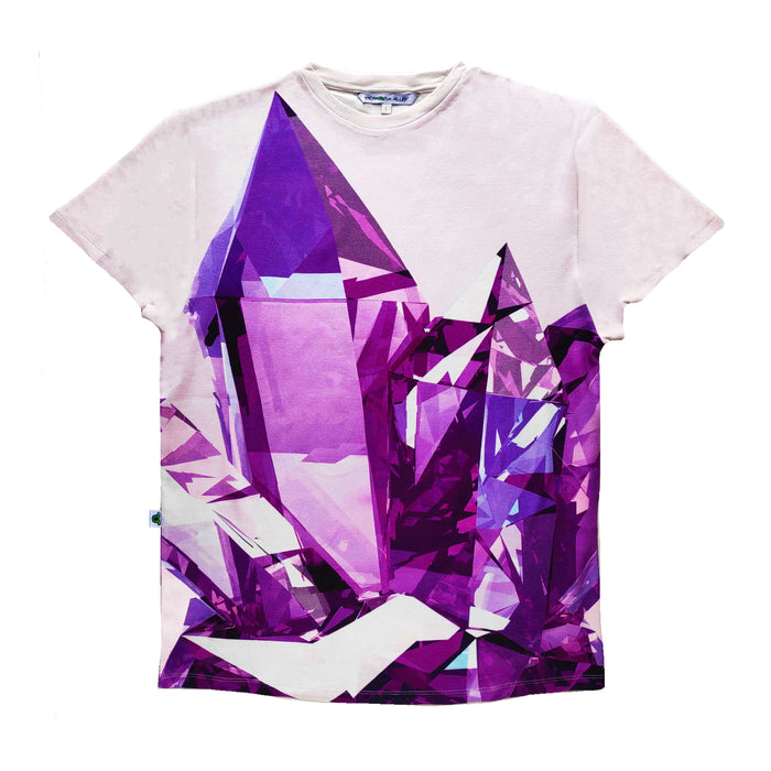 Adult tee with oversized image of an amethyst crystal cluster