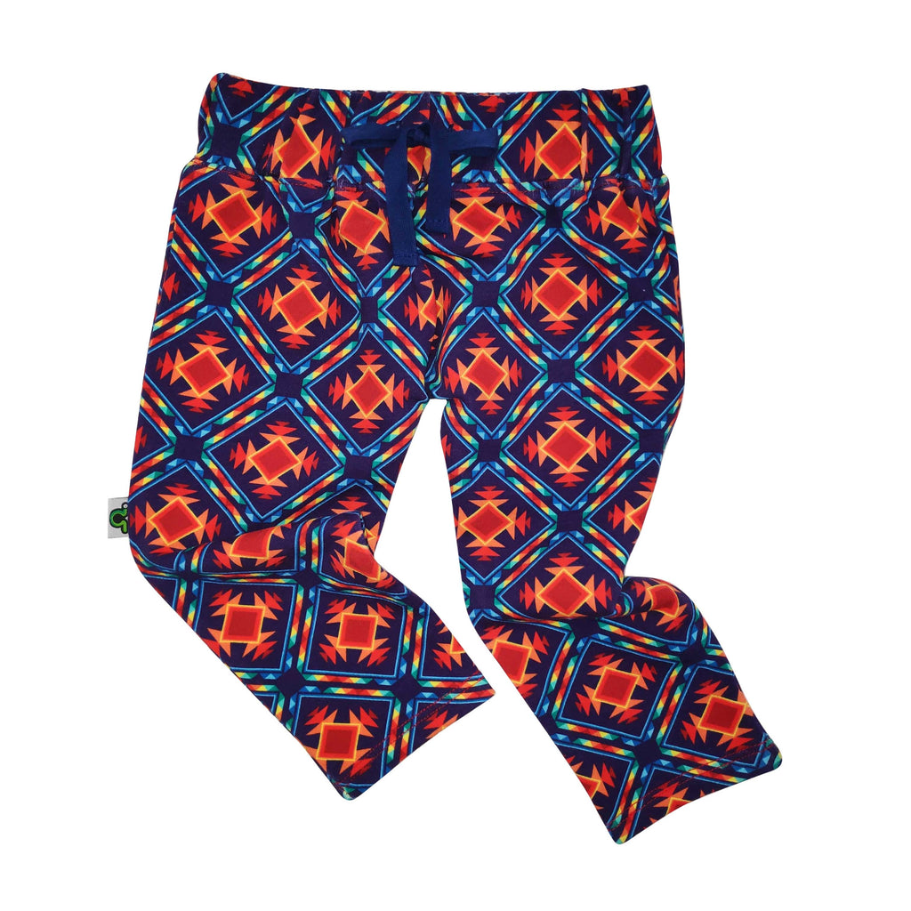 French Terry joggers with an all-over folksy, southwestern style pattern