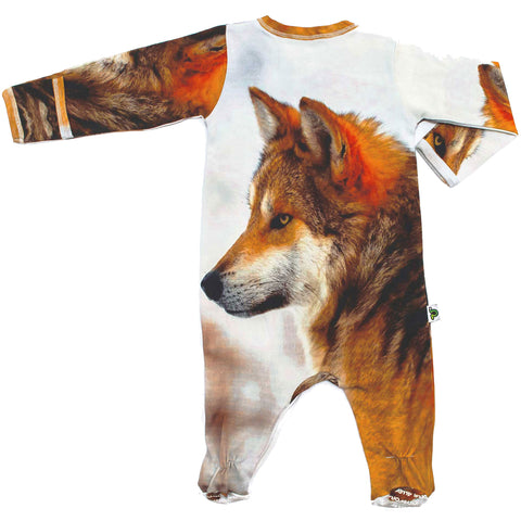 Back view of long sleeve footie printed with a side profile of a wolf
