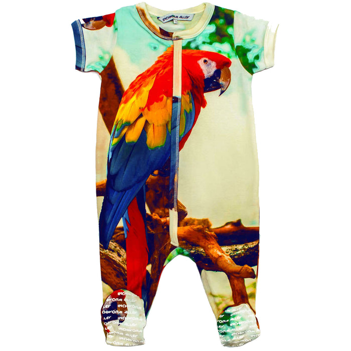 Front view of short sleeve footie printed with a parrot or Macaw with multicolour feathers