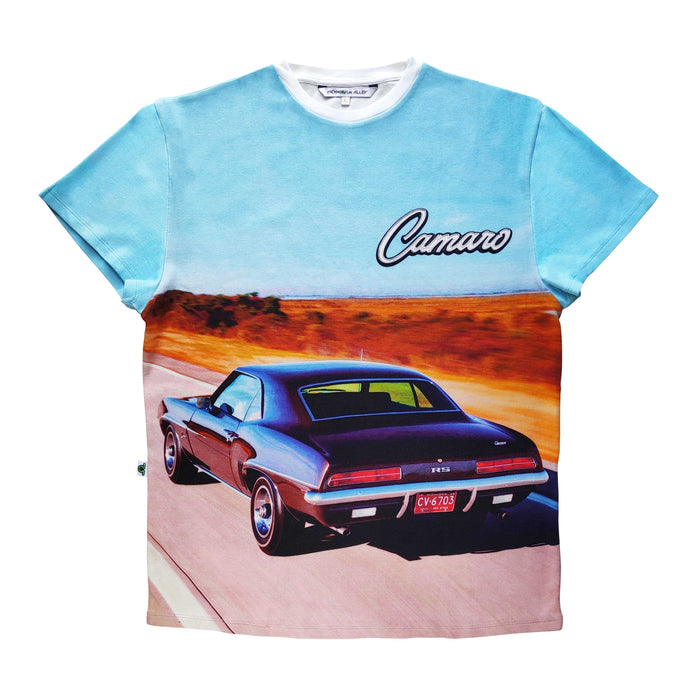 Adult tee with image of a classic Camaro driving down a road and the word Camaro across the chest