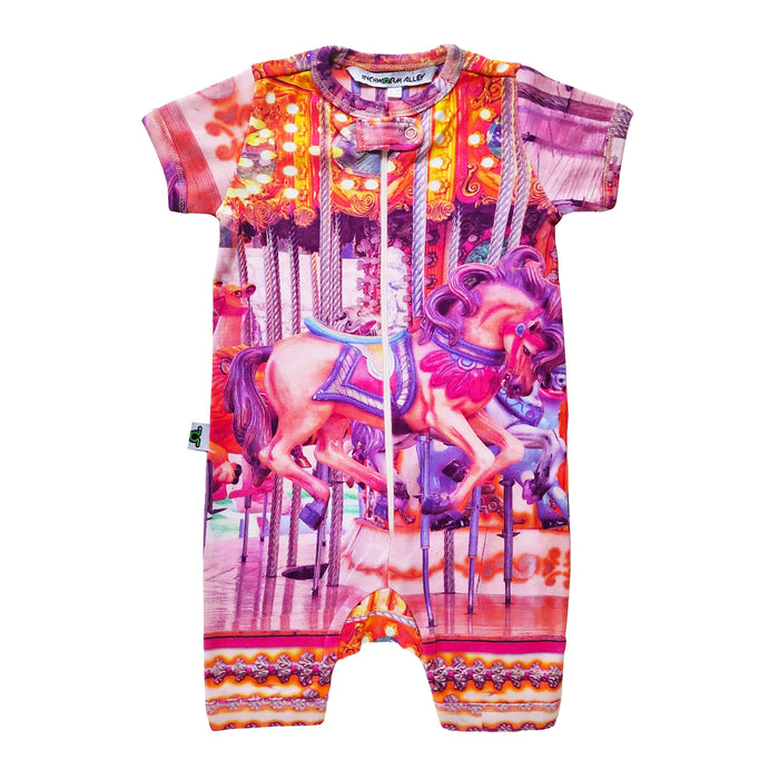 Short sleeve shorts romper with pink hued image of a carnival carousel horse ride