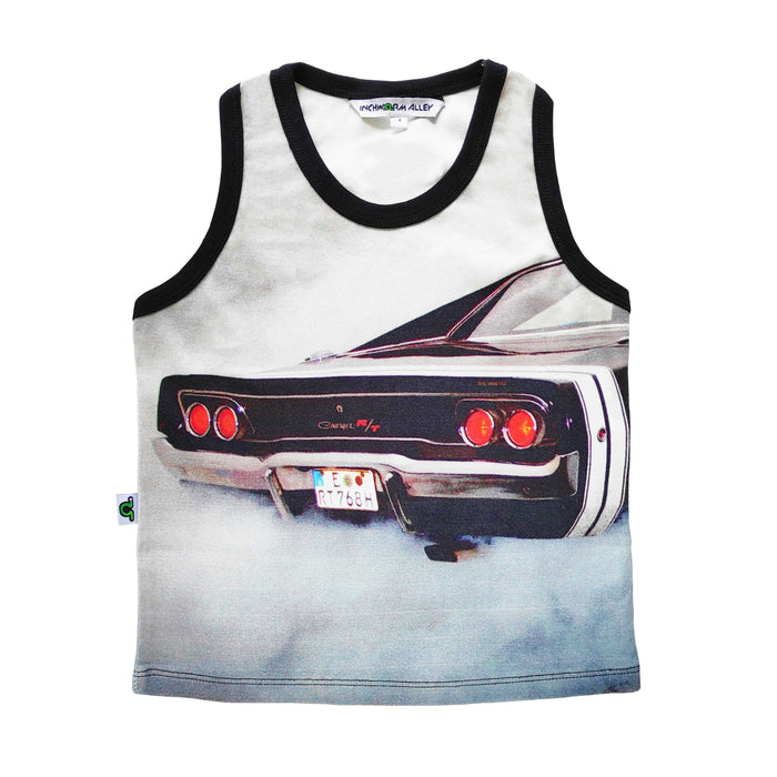 Tank top with the image of the back-end of a classic Dodge Charger spewing exhaust