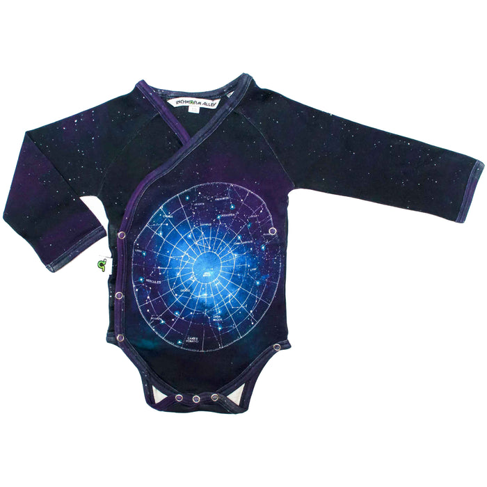 Front view of long sleeve bodysuit with kimono wrap front and star constellaton map print