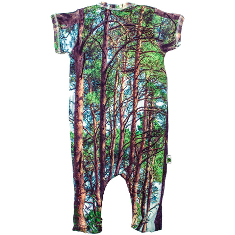 Back view of short sleeve footie with an all-over print of redwood trees