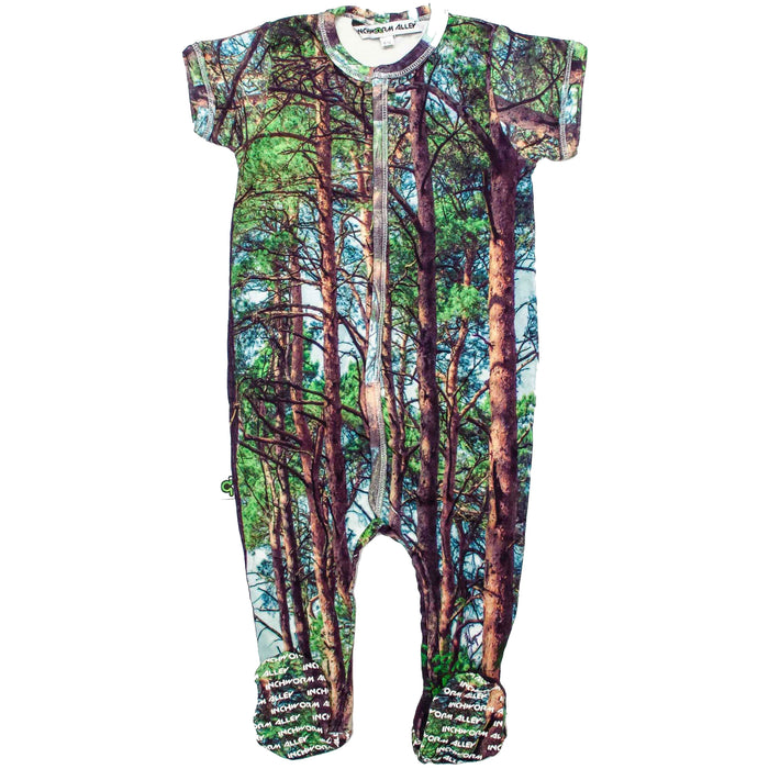 Front view of short sleeve footie with an all-over print of redwood trees