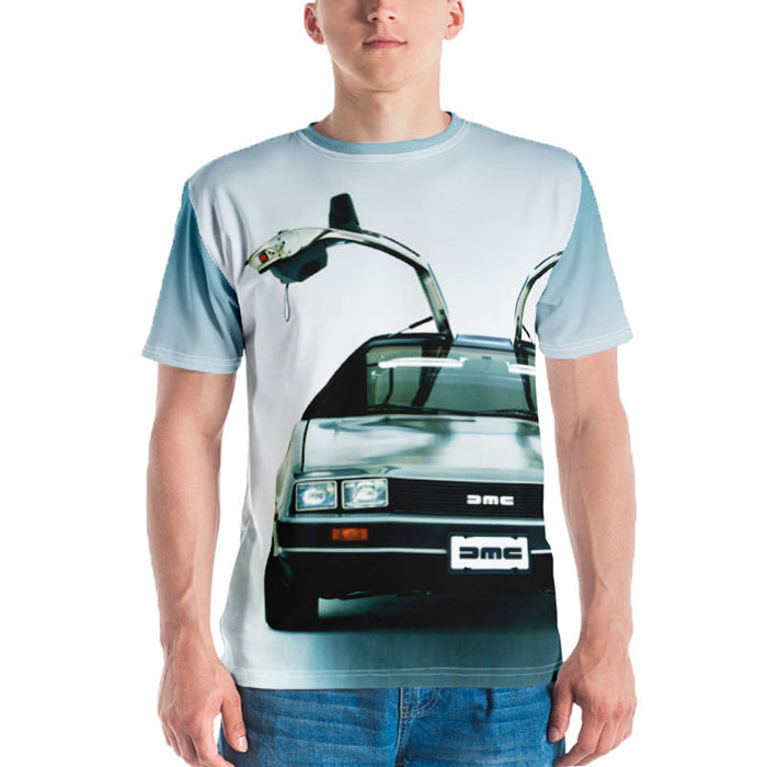 Man wearing a graphic tee with image of the front-end of a Delorean with the doors up