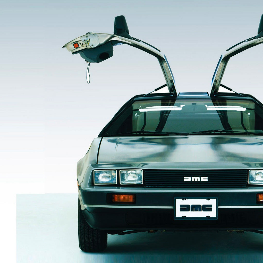 Image of the front-end of a Delorean with the doors up