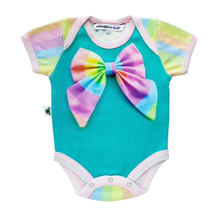 Short sleeve bodysuit onesie with a tromp l'oeil printed multicolour pastel bow