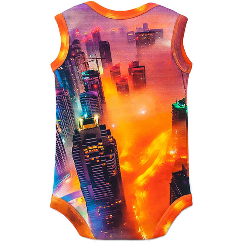 Back view of a tank bodysuit with an image of skyscrapers and city lights glowing through the fog settling over Dubai