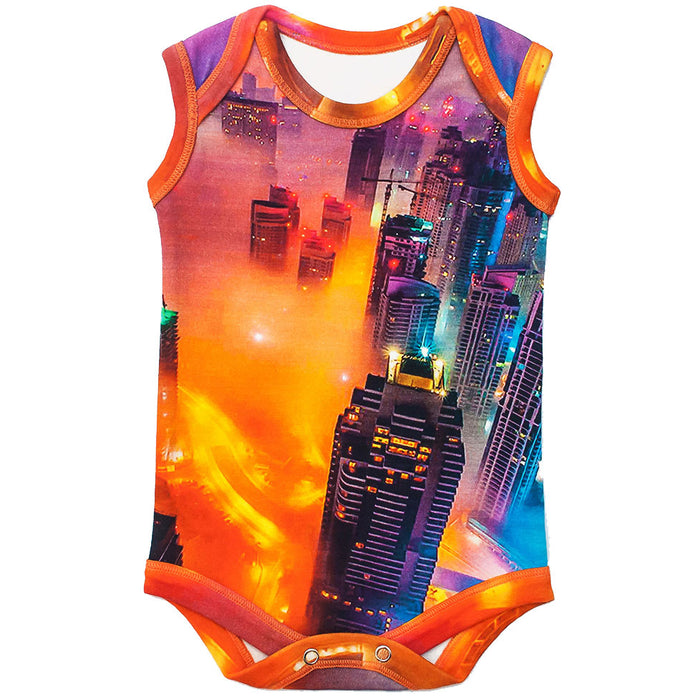 Front view of a tank bodysuit with an image of skyscrapers and city lights glowing through the fog settling over Dubai