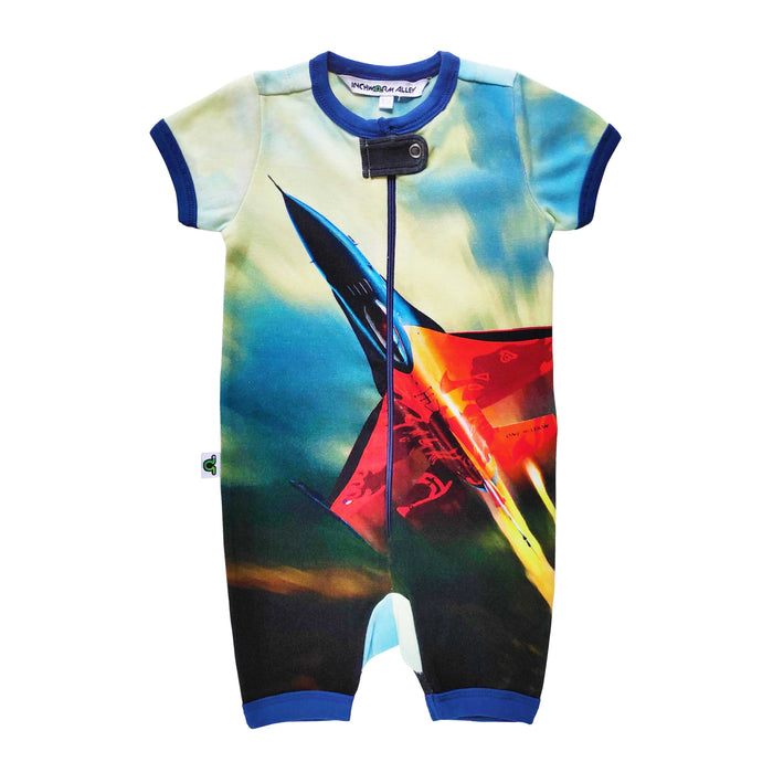 Short sleeves shorts romper with image of a speeding F16 Fighter Jet soaring across the body