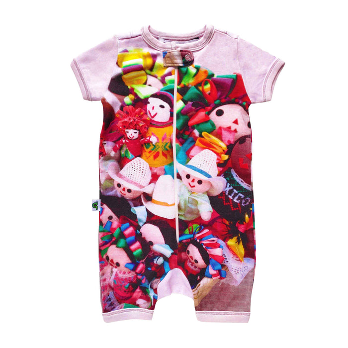 Short sleeve shorts romper with image of basket of Mexican Marias or colourful rag dolls