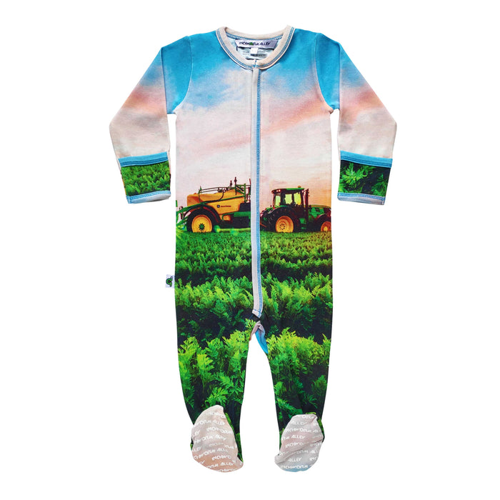 Long sleeve footie with image of tractor farming in a green field