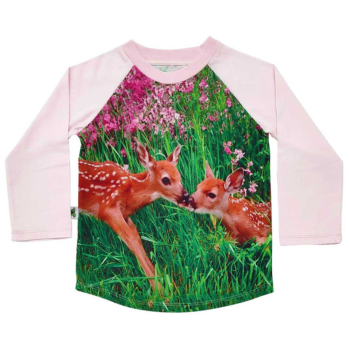 Raglan tee with image of two fawns sharing a kiss among pink flowers and tall green grass