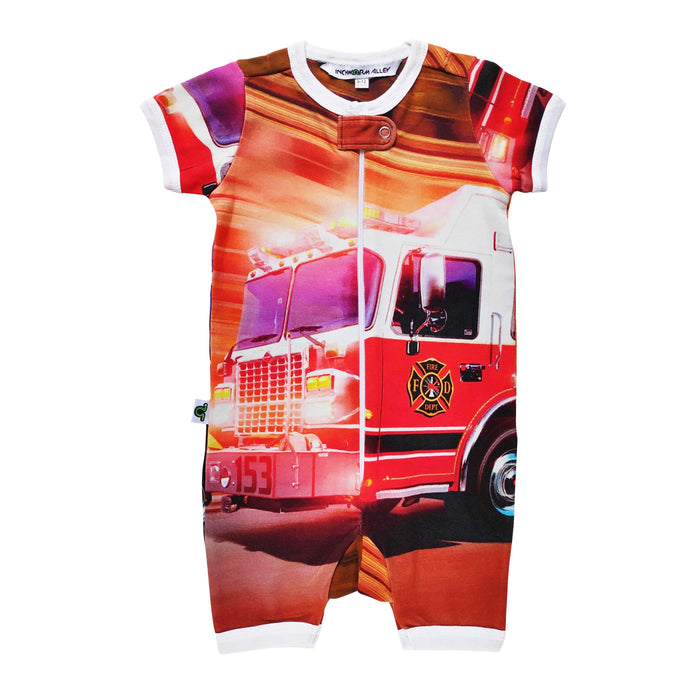 Short sleeve shorts romper with image of a bright red fire truck in motion