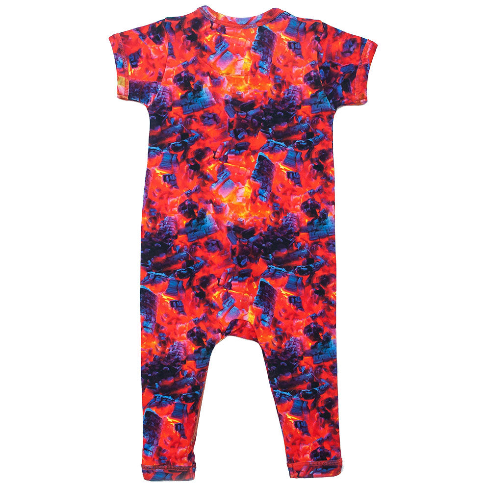 Back view of short sleeve, full leg romper printed with an image of burning coals and embers