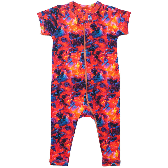 Front view of short sleeve, full leg romper printed with an image of burning coals and embers