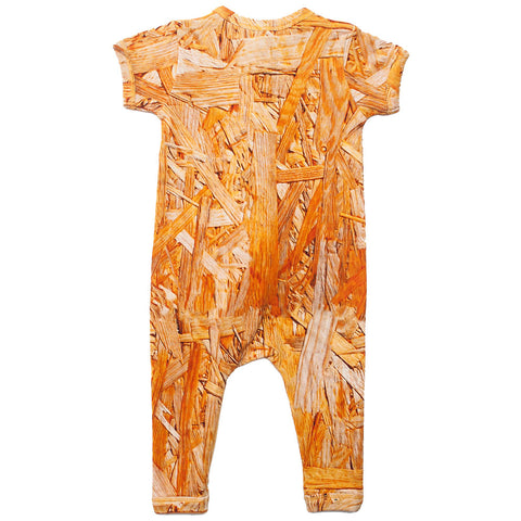 Back view of short sleeve romper with all-over print of wood grain