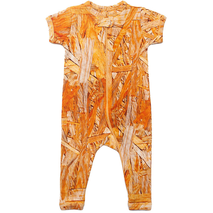 Front view of short sleeve romper with all-over print of wood grain