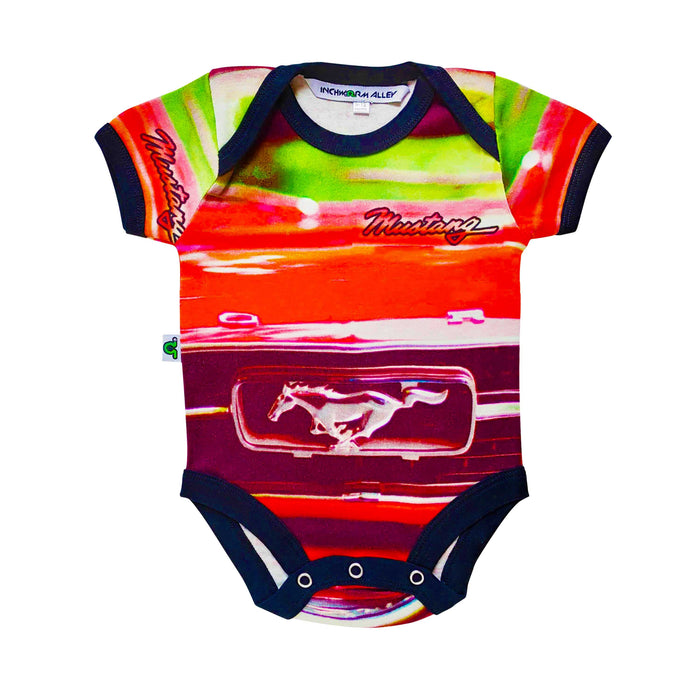 Short sleeve bodysuit onesie with image of the front of a red Ford Mustang truck with the word Mustang on the left chest