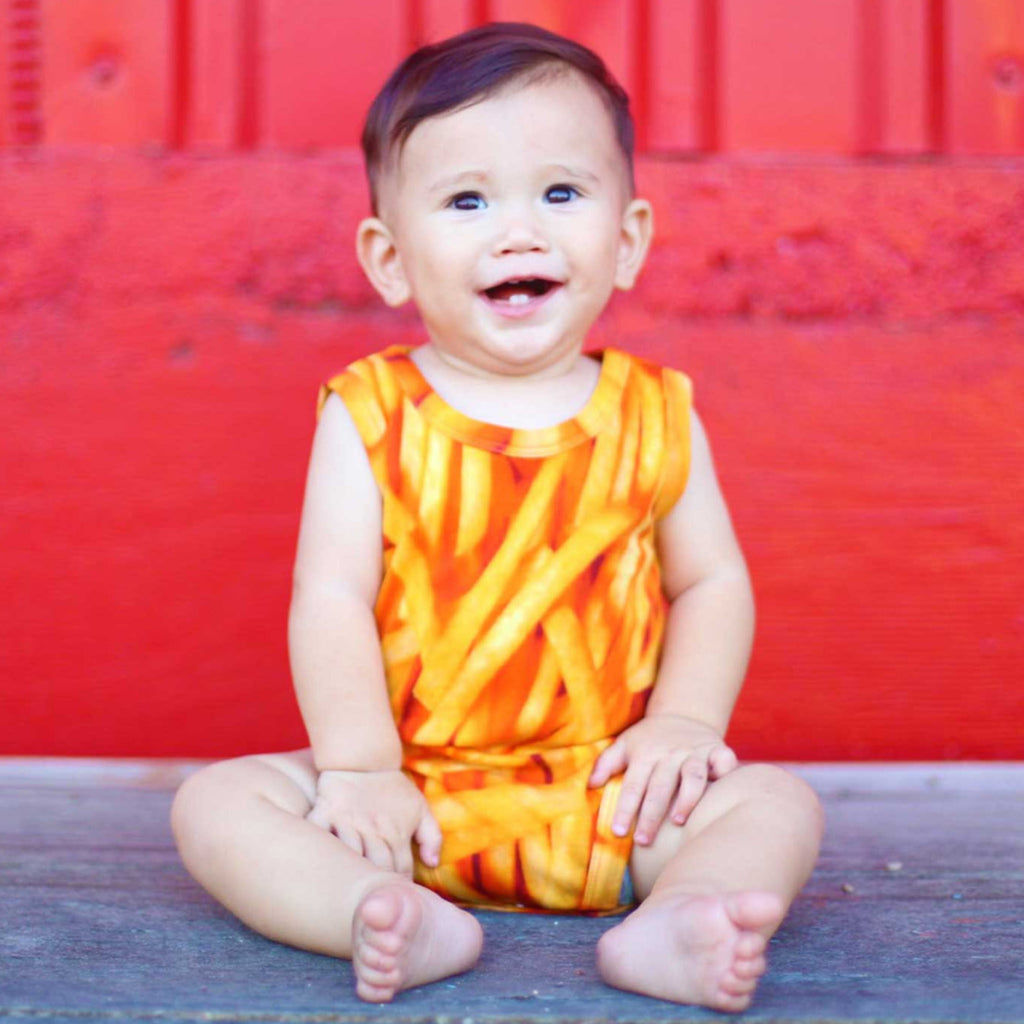 Baby wearing a tank bodysuit with an all-over print of french fries