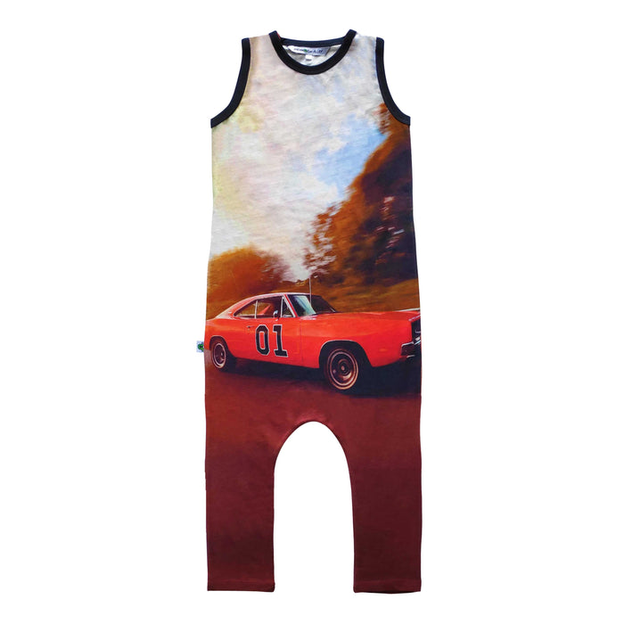 Tank jumpsuit with image of The General Lee from the Dukes of Hazzard TV series driving down a road