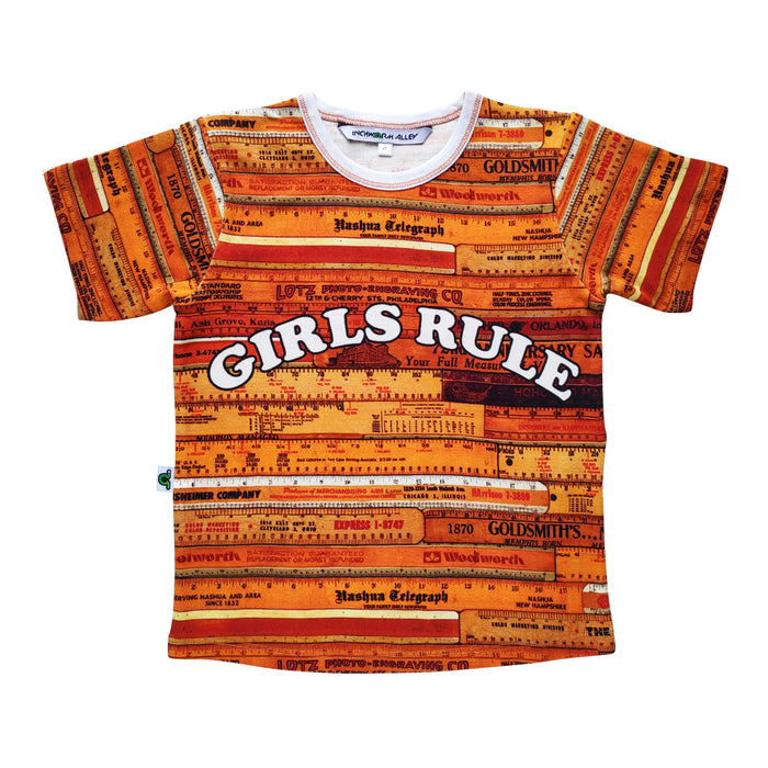 Graphic Tee with an all-over print of wooden school rulers and the words Girls Rule across the chest